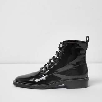 River Island Womens Black patent diamante trim lace-up boots