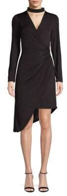 Julia Jordan Choker Faux-Wrap Dress