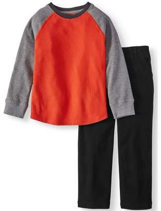 365 Kids From Garanimals Long Sleeve Thermal Solid Raglan T-Shirt & Woven Pants, 2pc Outfit Set (Little Boys & Big Boys)