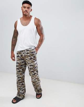 Asos DESIGN straight pyjama bottom in camo print in organic cotton