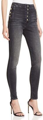 J Brand Natasha Sky High Skinny Jeans in Anthracite $268 thestylecure.com