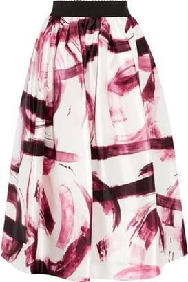 Dolce & Gabbana Pleated Printed Satin-twill Midi Skirt