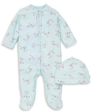 Little Me Girls' Floral Dot Footie & Hat Set - Baby