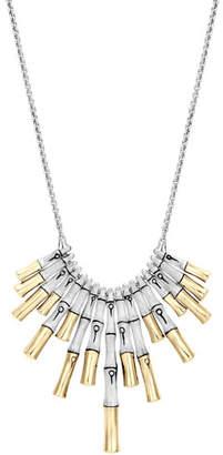 John Hardy Bamboo 18K & Brushed Silver Dangling Pendant Necklace