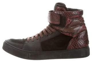 Saint Laurent Snakeskin-Trimmed High-Top Sneakers