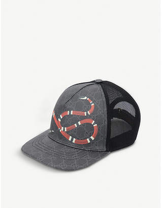 a74890f2716 Gucci Kingsnake GG Supreme canvas and mesh baseball cap