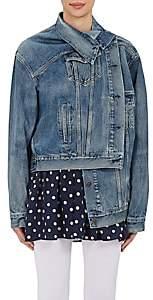 Balenciaga Women's Crossover-Front Denim Jacket - Md. Blue