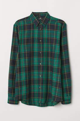 H&M Regular Fit Flannel Shirt - Green