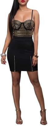 XARAZA Women Sleeveless Bodycon Club Mini Dress Sequins Studded Cocktail Short Skirt (US/S, )