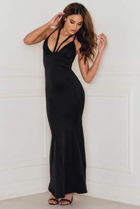 Rebecca Stella Strap Detail Scuba Maxi Dress Black