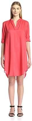 James & Erin Women's Tab Sleeve Shirttail Hem Dress