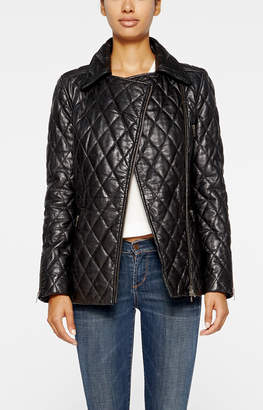 Nicole Miller Quilted Leather Moto Jacket