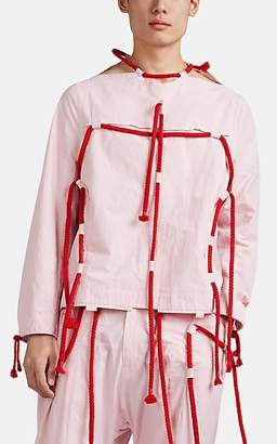 Craig Green Men's Drawstring-Detailed Cotton Poplin Pullover Work Jacket - Pink