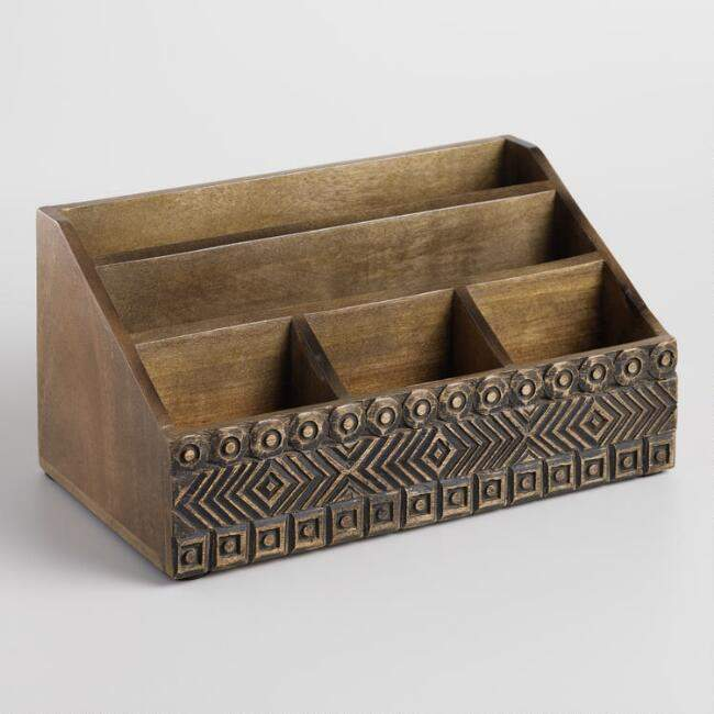 Carved Wood Tribal Desk Organizer