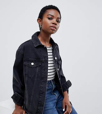 Asos DESIGN Petite denim girlfriend jacket in washed black