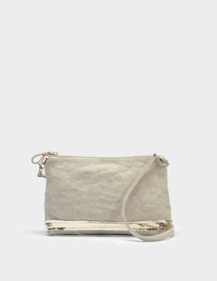 Vanessa Bruno Linen and Sequins Zipped Clutch Crossbody Bag in Sable Linen