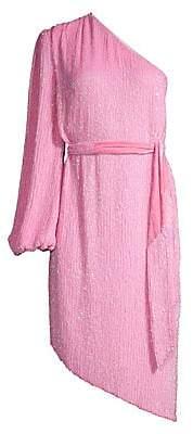 RetrofÃate Women's Asymmetric Sequin Belted Sheath Dress