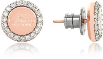 Rebecca Boulevard Stone Rose Gold Over Bronze Stud Earrings w/Stones