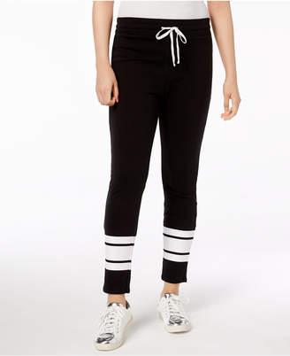 Material Girl Juniors' Striped-Leg Drawstring-Waist Pants, Created for Macy's