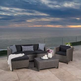 Noble House Cascada Outdoor 6 Piece Wicker L-Shaped Sectional Sofa Set with Club Chair and Cushions, Mixed Black, Dark Grey