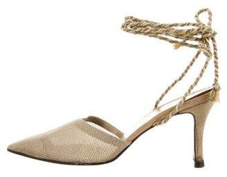 Saint Laurent Vintage Pointed-Toe Lace-Tie Pumps