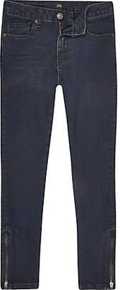 River Island Boys dark blue Danny zip super skinny jeans
