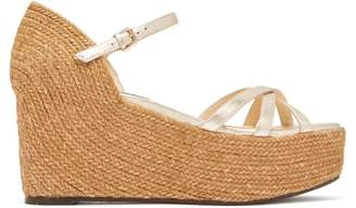 Jimmy Choo Delany 80 Leather Espadrille Wedge Sandals - Womens - Gold