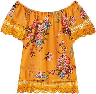 Beautees Big Girls Floral Lace-Trim Peasant Top