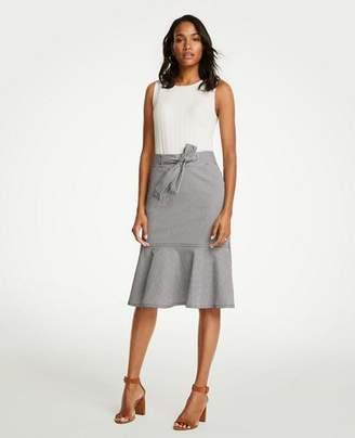 Ann Taylor Petite Belted Seersucker Flounce Skirt