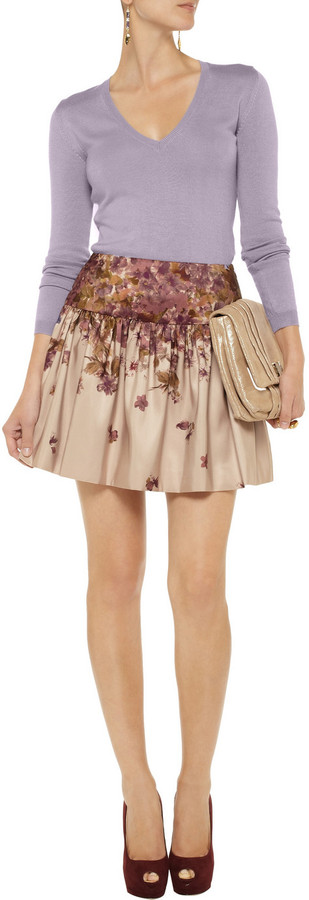 RED Valentino Floral-print sateen skirt