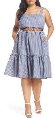 Eliza J Belted Gingham Seersucker Fit & Flare Dress (Plus Size)