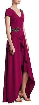 David Meister Women's Embellished Ruffle Slit Gown