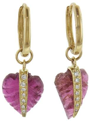 Jacquie Aiche Mini Pink Tourmaline Leaf Hoop Earrings - Yellow Gold