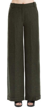 Max Studio heathered wool herringbone wide legged trousers