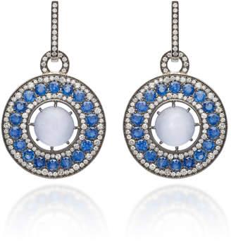 "Nam Cho 18K White Gold"" Black Rhodium"" Chalcedony"" Blue Sapphire and Diamond Earrings"