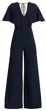 Halston Women's Flowy Cape Sleeve V-Neck Jumpsuit - Size 0