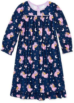 Peppa Pig Girls Microfiber Nightgown Long Sleeve Round Neck