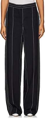 Cédric Charlier Women's Pinstriped Linen-Cotton Wide-Leg Pants