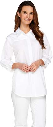 Joan Rivers Classics Collection Joan Rivers Classic Boyfriend Shirt with 3/4 Sleeves