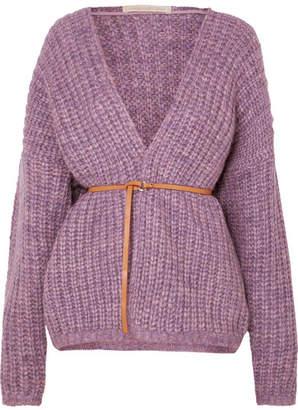 Vanessa Bruno Irvina Belted Ribbed-knit Cardigan - Lavender