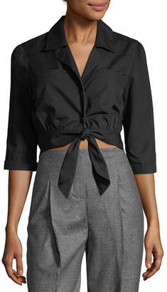 Temperley London Payton Tie Front Crop Blouse