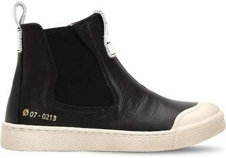 Ocra Nappa Leather High Top Sneakers