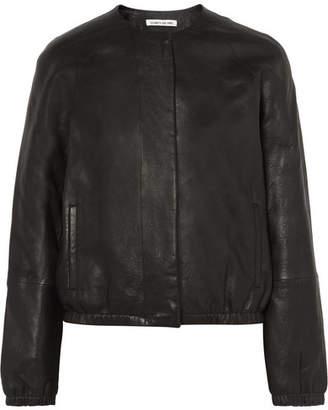 Elizabeth and James Tinley Textured-leather Bomber Jacket - Black