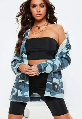 Missguided Blue Coloured Camo Oversized Field Jacket