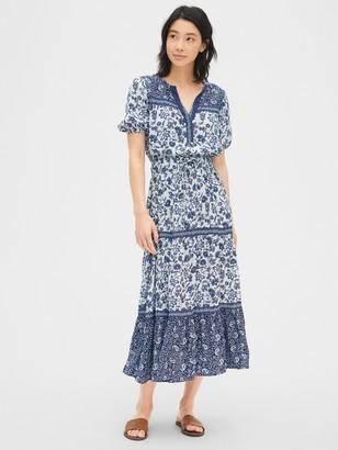 Gap Print Split-Neck Tiered Maxi Dress
