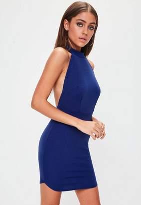 Missguided Blue Halterneck Backless Bodycon Dress, Blue