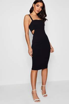 boohoo Square Neck Cut Out Side Midi Dress