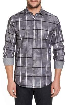 Bugatchi Regular Fit Camo Grid Sport Shirt