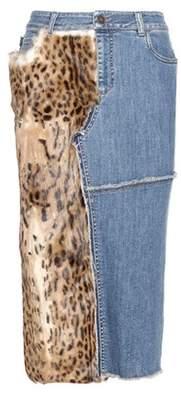 Tom Ford Fur-trimmed denim skirt