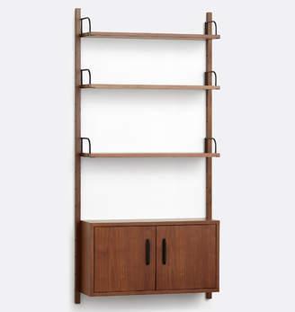 Rejuvenation Hart Modular Walnut Shelving Unit with Cabinet